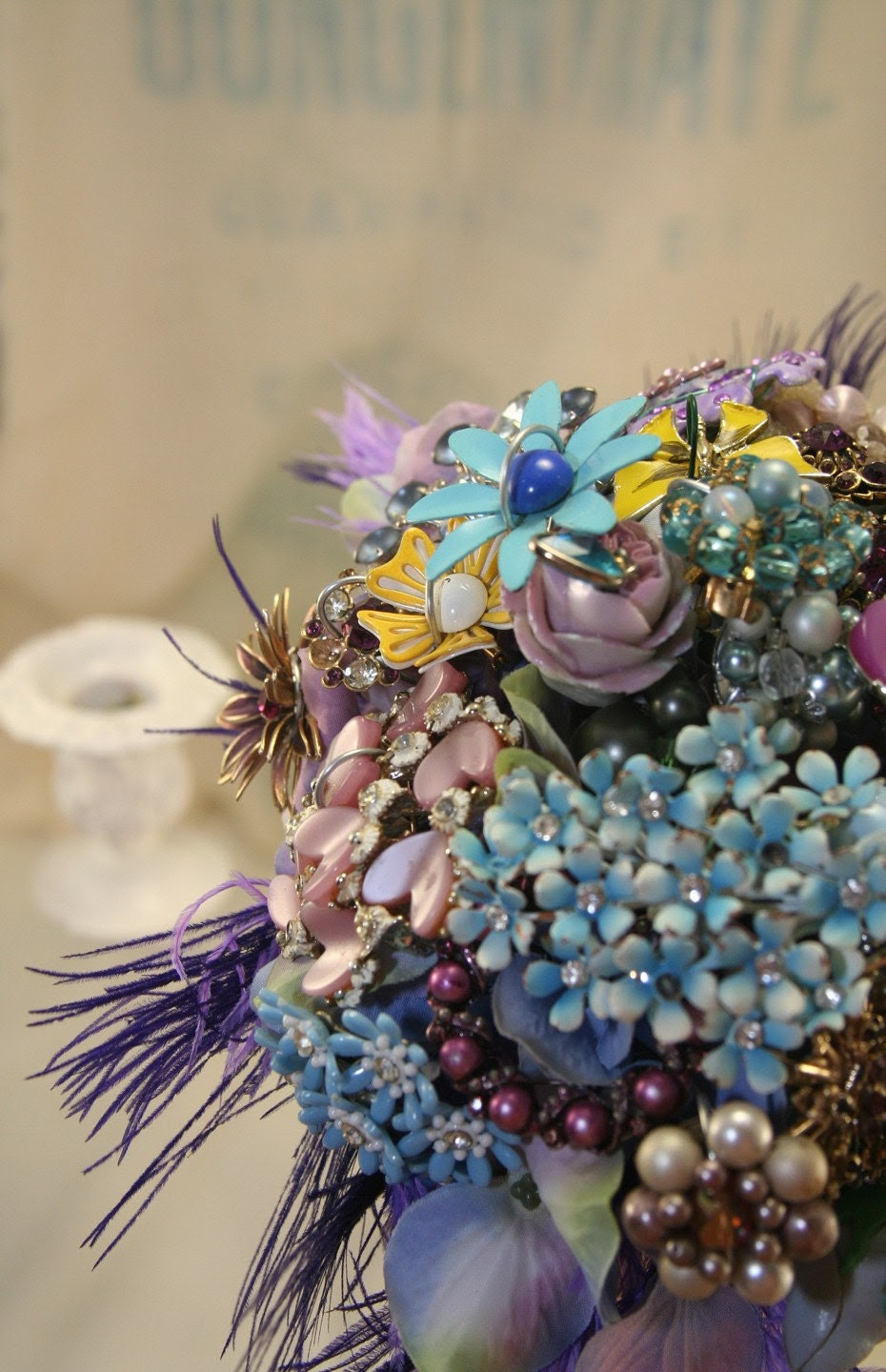 Vintage Brooch Bouquet with Feathers - Made to Order