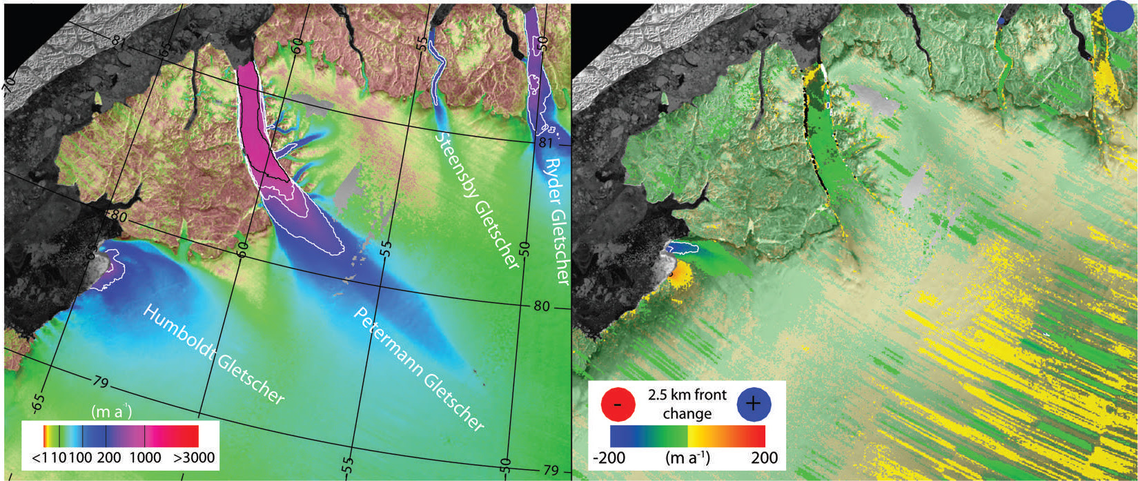 Left panel denotes ice velocities; the right panel shows changes in velocities