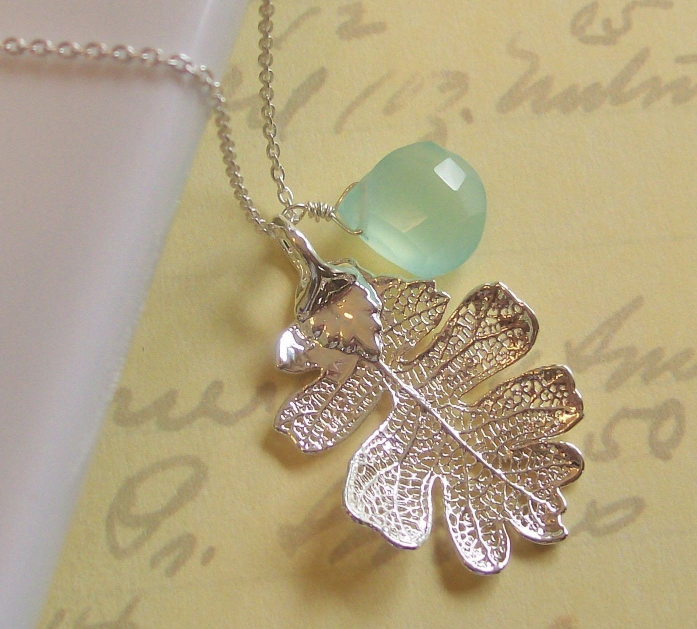 Spring Showers Necklace, Baby Oak Leaf and Seafoam Green Chalcedony Briolette