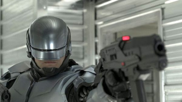 Maimed by a car bomb explosion, detective Alex Murphy (Joel Kinnaman) dons silver robotic armor in ROBOCOP.