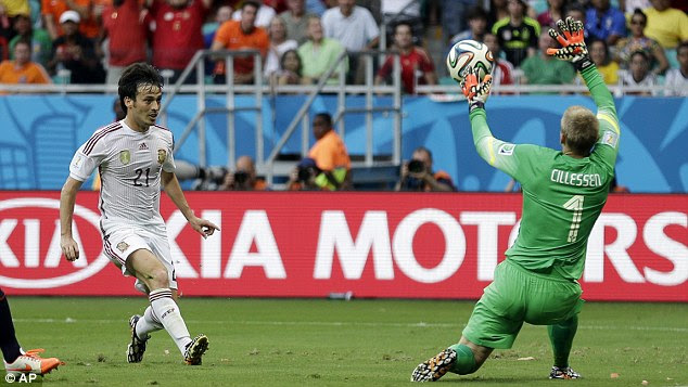Thwarted: David Silva sees his chip comfortably saved by Cillessen