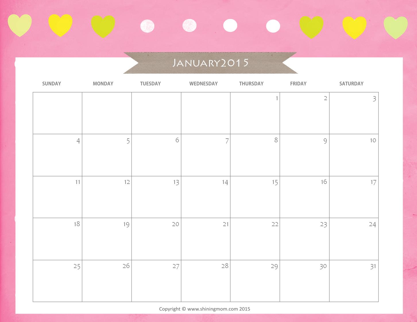 JANUARY 2015 CALENDAR free printable1