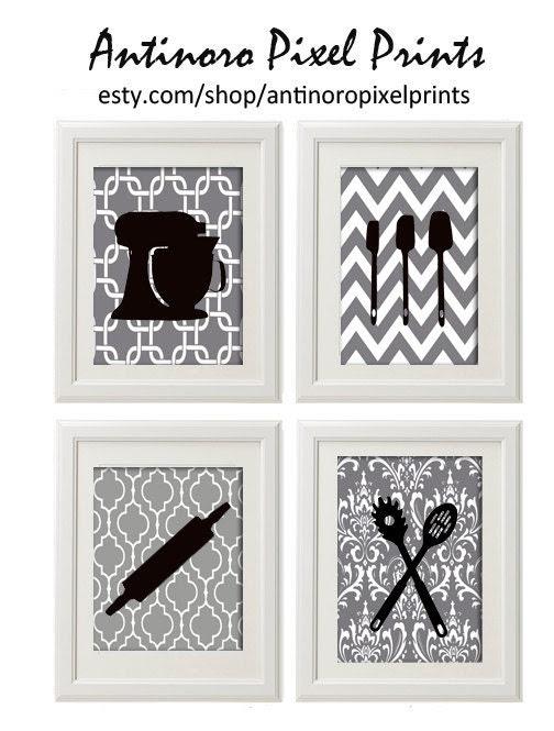 Black White Greys Unframed Kitchen Utensils Art Collection  -Set of (4) - 8x11 Prints - antinoropixelprints
