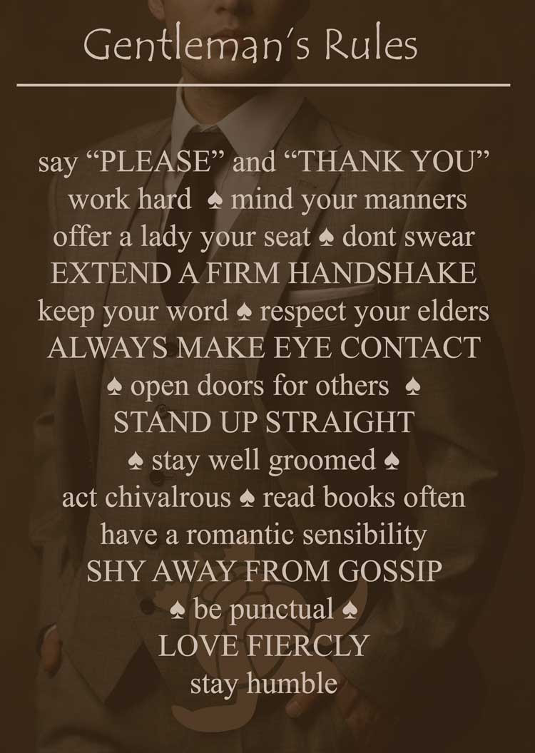 The Rules To Being A Gentleman