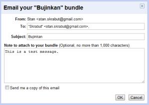Email Bundle dialog box