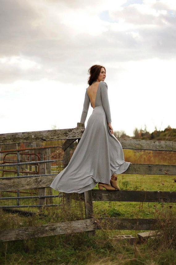 Colette Gown ~ low back, long sleeve special occasion gown in a warm grey jersey fabric | Prarie Clothing Co.