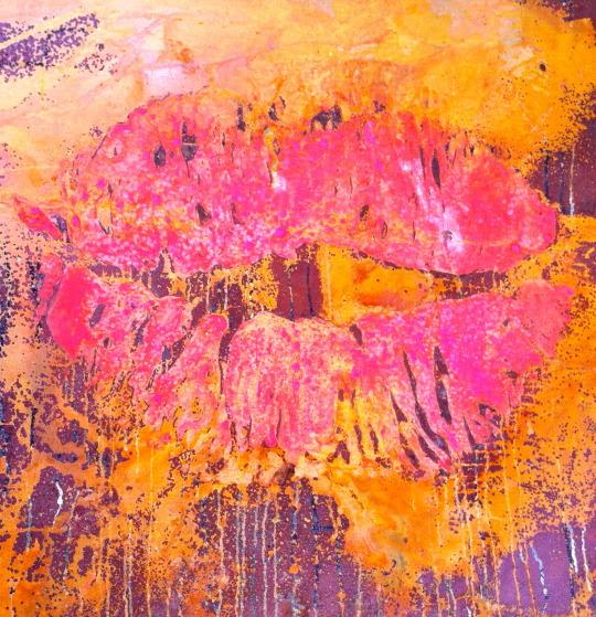 """""""La tentation de la mort», l'acide chlorhydrique et Acrylique sur acier, 100 x 100cm 2013"""