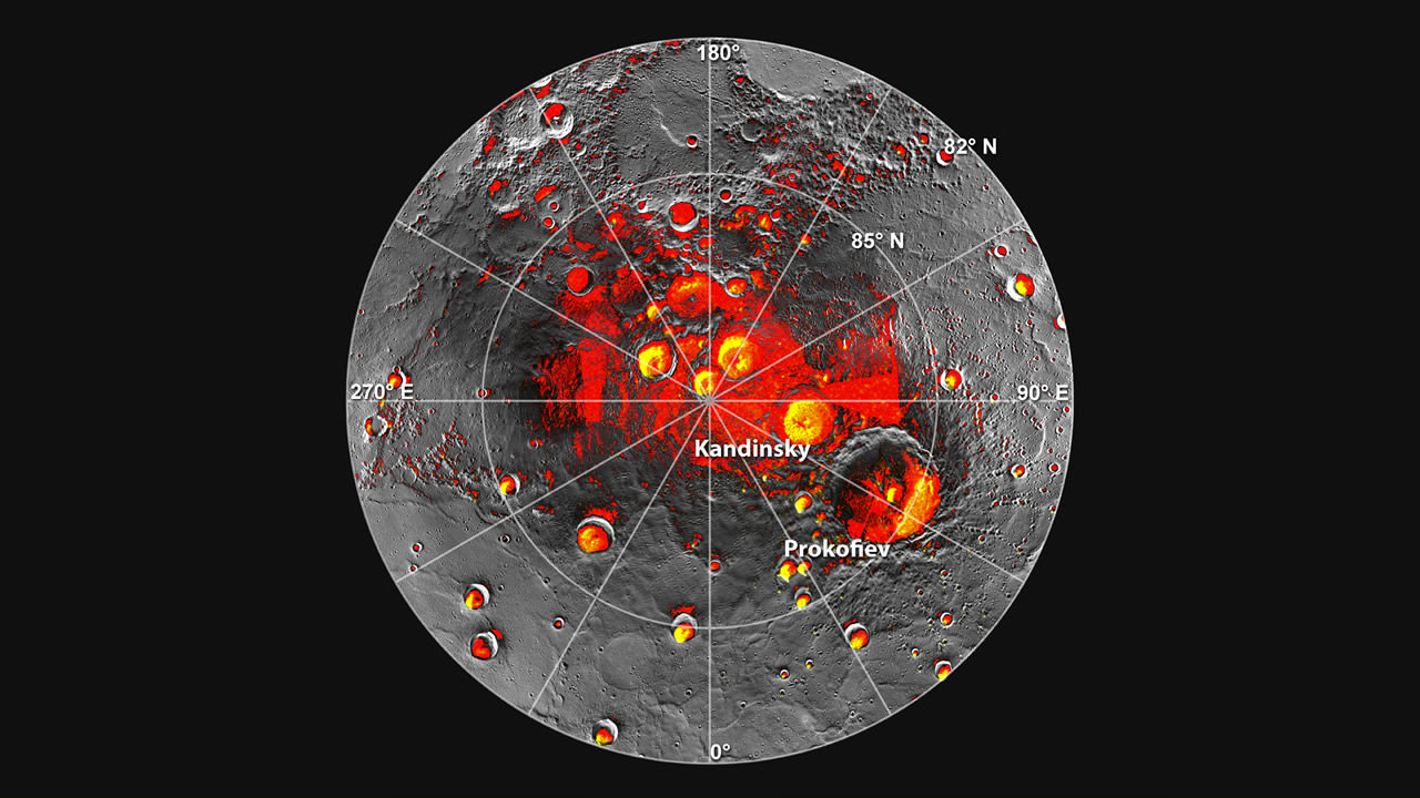 Images of Mercury's northern polar region, provided by MESSENGER. Credit: NASA/JPL