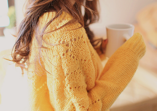 yellow, hair, cup, clothing, model, brunette, home, thin, sweather, fashion, pretty