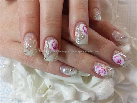 White and silver gel design wedding nails with one stroke