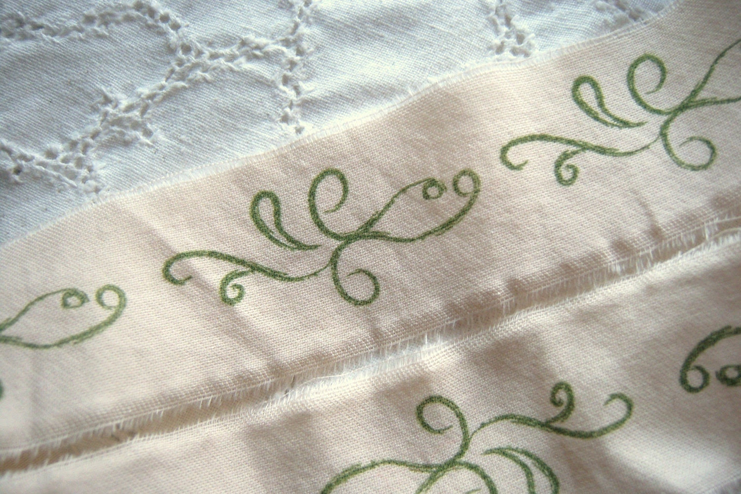 Trim - Hand Stamped Scrolls Cream with Green