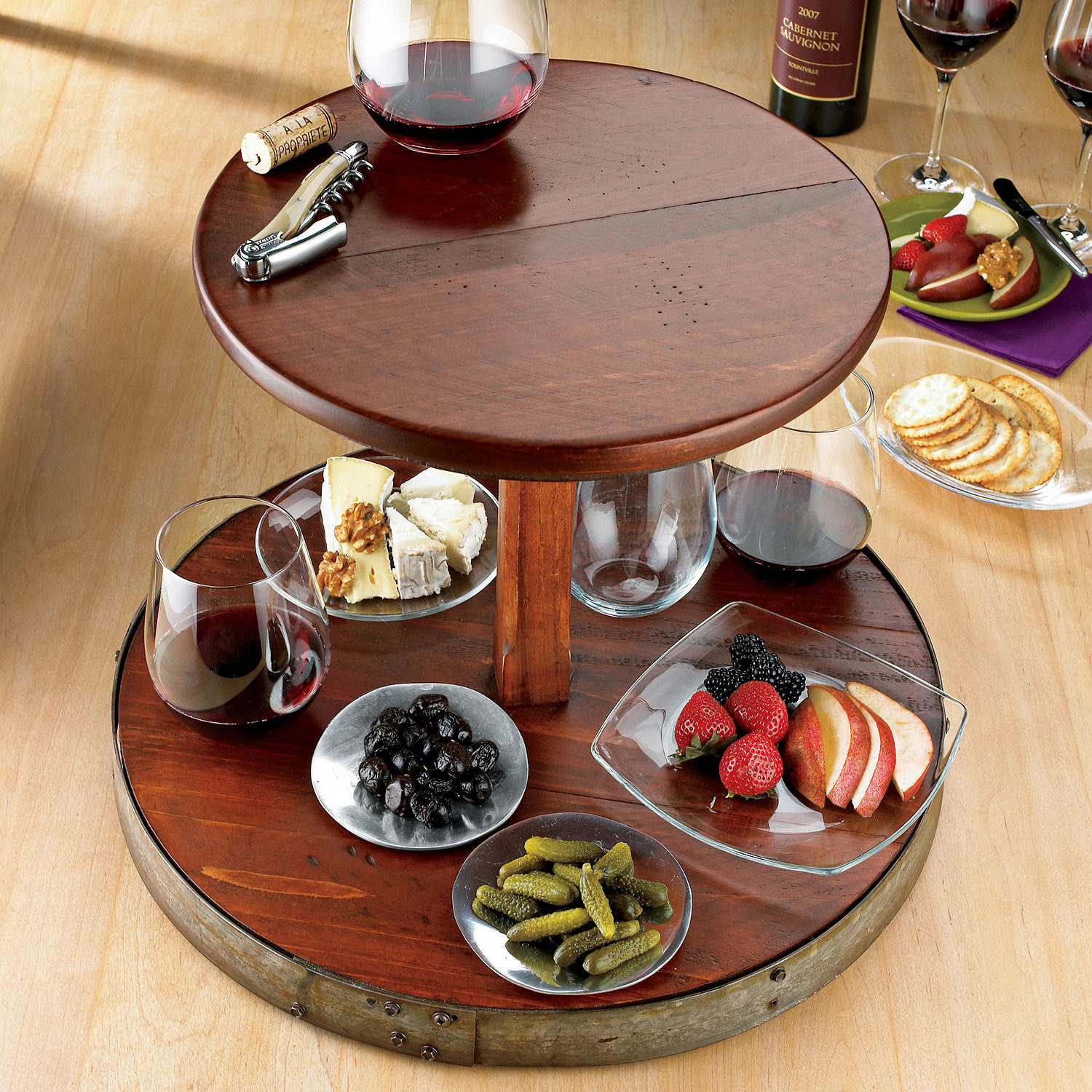 Kitchen Dining Sets Inspiring Wine Barrel Lazy Susan For