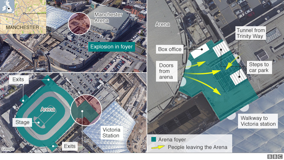 Three images showing where the explosion happened in the foyer of the Manchester Arena, next to Victoria Station