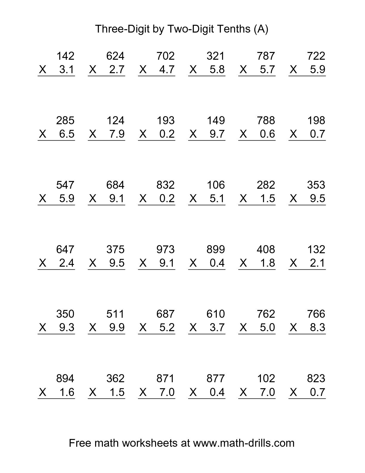 multiplying decimals by whole numbers worksheet_475991