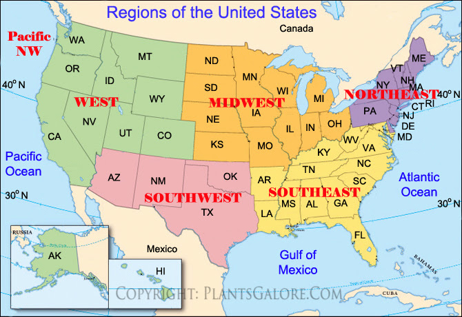 United States Map With Regions | Campus Map