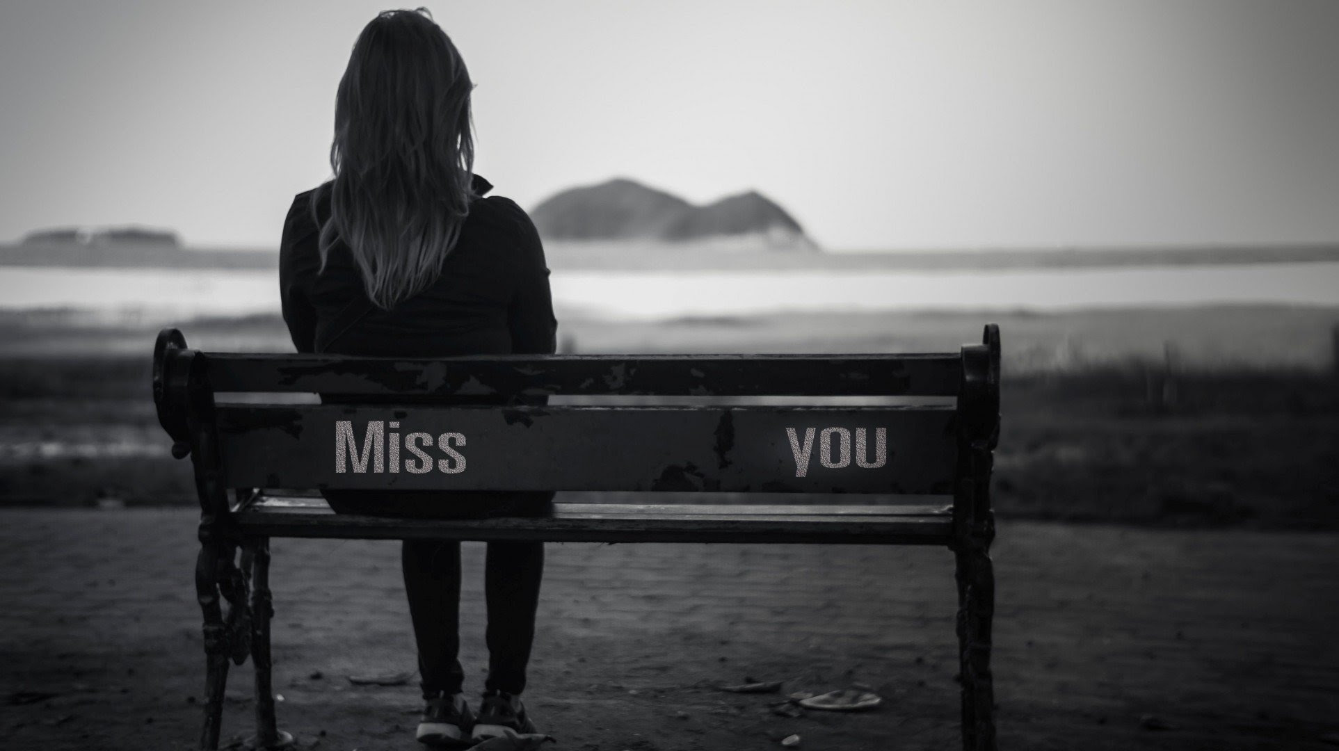 Full Screen Widescreen Shop Girl Mood Sadness Bench Black And White