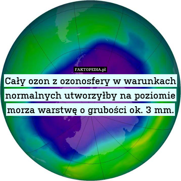 Cały ozon z ozonosfery w warunkach – Cały ozon z ozonosfery w warunkach normalnych utworzyłby na poziomie morza warstwę o grubości ok. 3 mm.