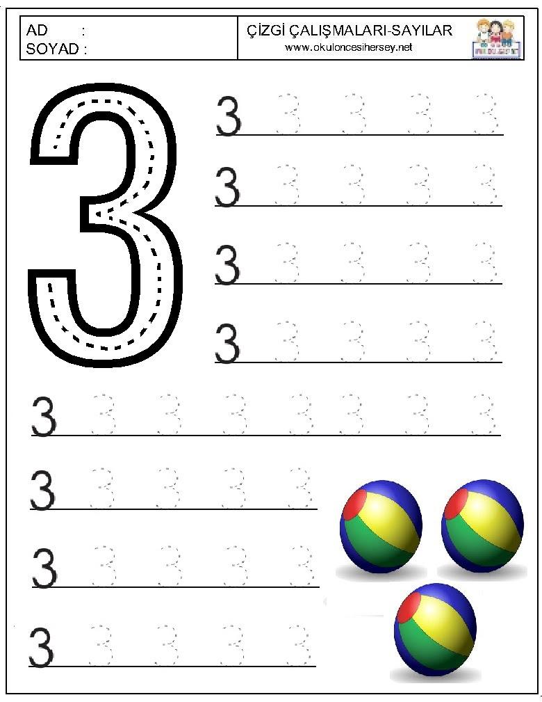 Sayılar çizgi çalışmaları