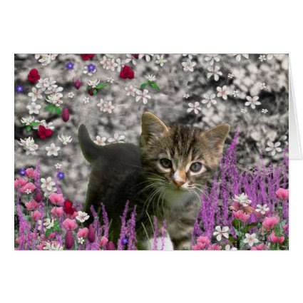 Emma in Flowers I – Little Gray Kitty Cat Greeting Cards
