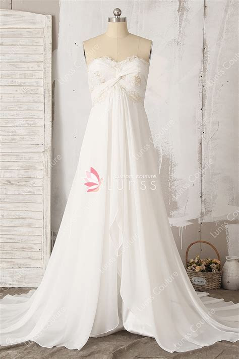Ivory Strapless A line Chiffon Long Wedding Dress with