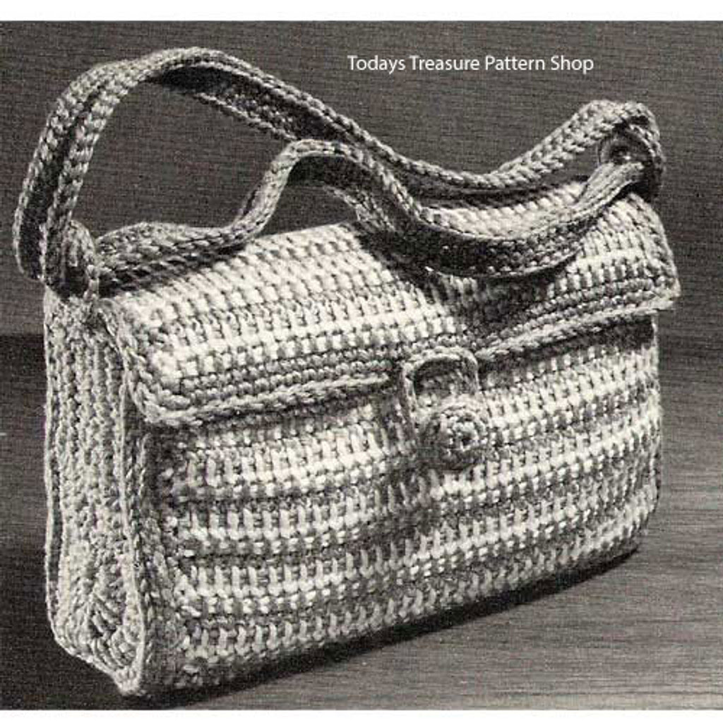 Striped Satchel Bag Crochet Pattern in Heavy Rug Yarn