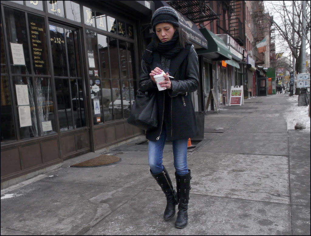 1Z 13w black coat leather sleaves boots jeans scarf knit hat coffee cigarette ol fb