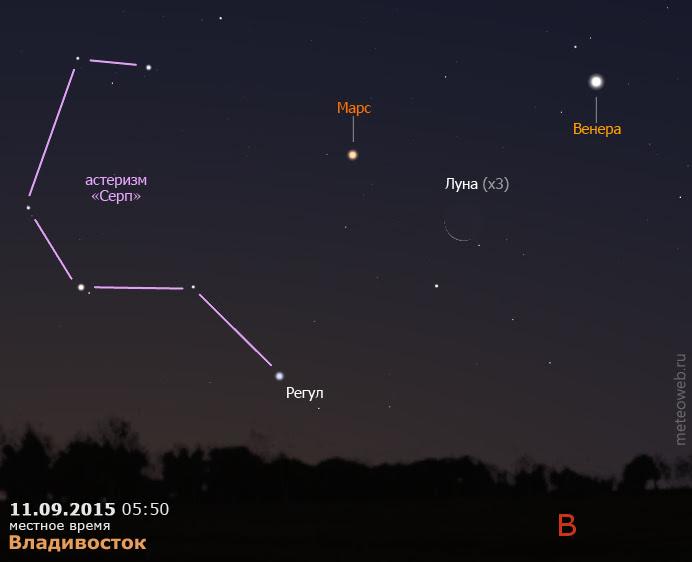 Венера, Марс и убывающая Луна на утреннем небе Владивостока 11 сентября 2015 г.