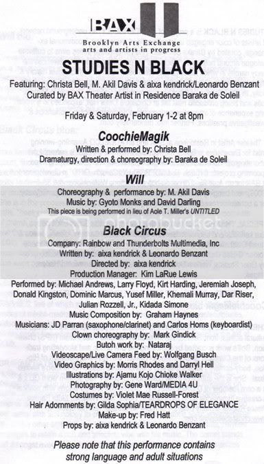 BAX Theater credits for Black Circus; Wolfgang Busch provided videoscape/live camera feed for 'Black Circus.'