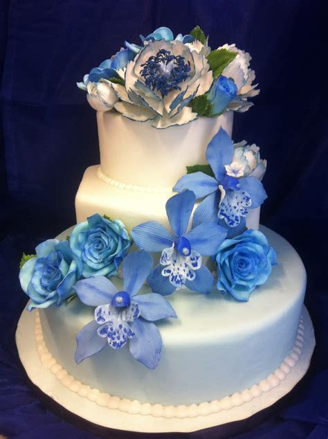 Blue Wedding Cake With Gumpaste Flowers   CakeCentral.com