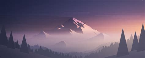 Download Mountains Moon Trees Minimal 2560x1024 Resolution