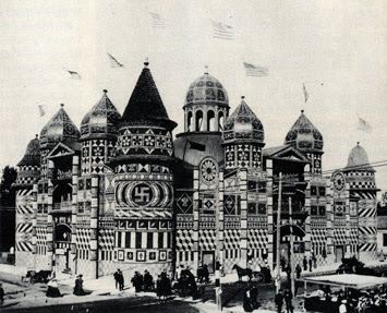 The Corn Palace of Mitchell, South Dakota in 1905 with a non-Nazi swastika on the front