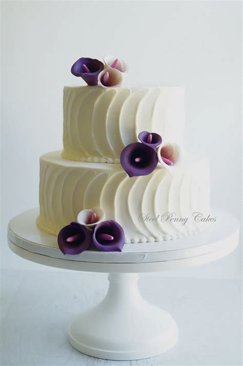 Textured Buttercream With Plum Calla Lilies   CakeCentral.com