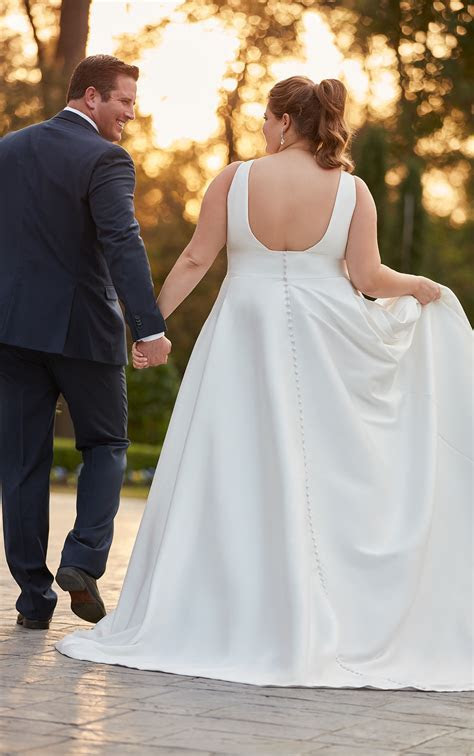 Royal Inspired Simple Plus Size Wedding Dress   Stella