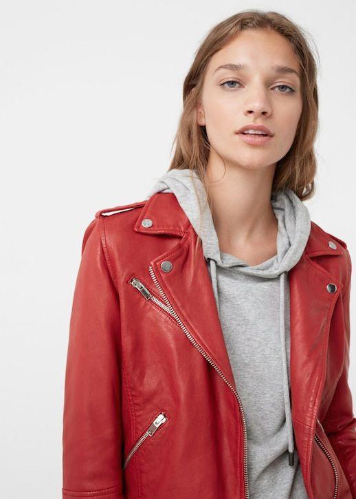 Le Fashion Blog Red Leather Moto Jacket Light Grey Hoodie Via Mango