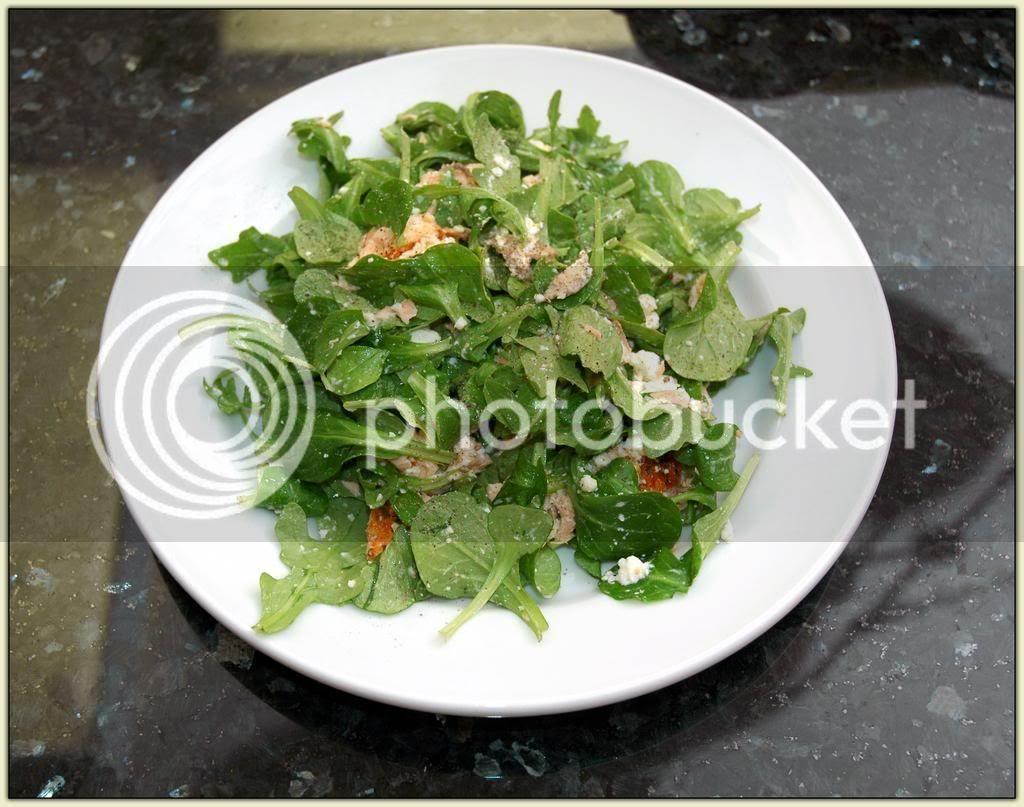 Arugula and Mâche Salad with Feta and Salmon