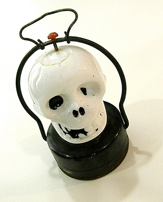 1920's Milk Glass and Metal Skull Halloween Lantern
