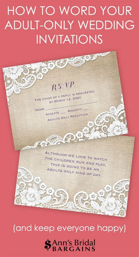 How to Word Your Adult Only Wedding Invitations   Ann's