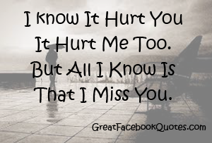 I Know It Hurt You It Hurt Me Too But All I Know Is That I Miss