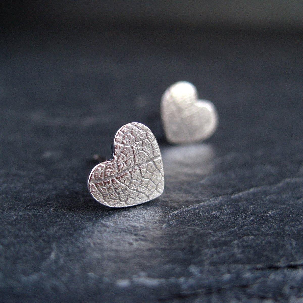 Leaf Vein Texture Silver Studs, sterling silver earrings, oxidized silver stud earrings, post earrings, silver heart earrings - CinnamonJewellery