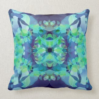 Blue Fusion Throw Pillow throwpillow