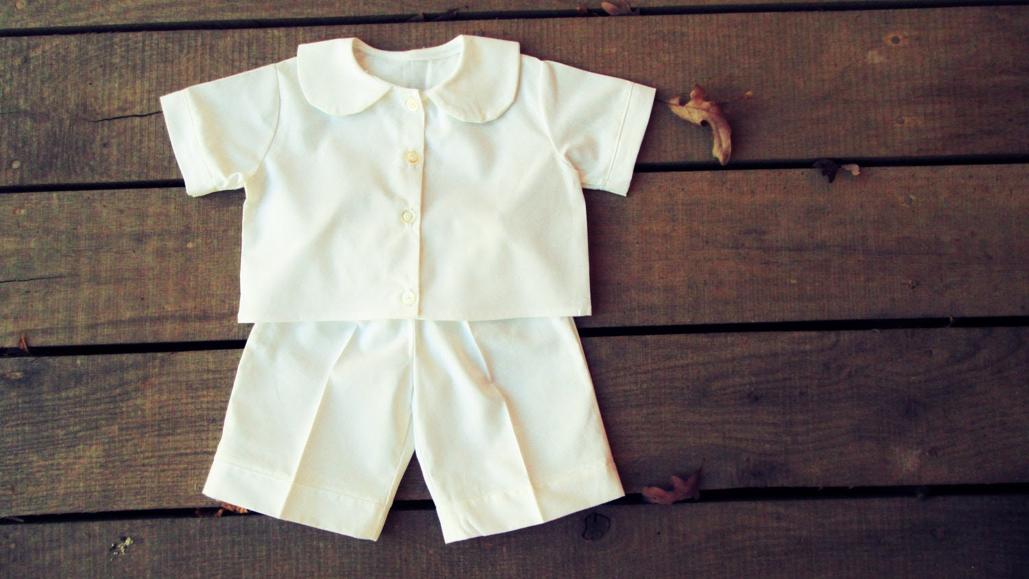 Boys Easter Outfit, Christening, dedication outfit peter pan collar button down shirt - white sizes 6, 9, 12, 18 months 2t