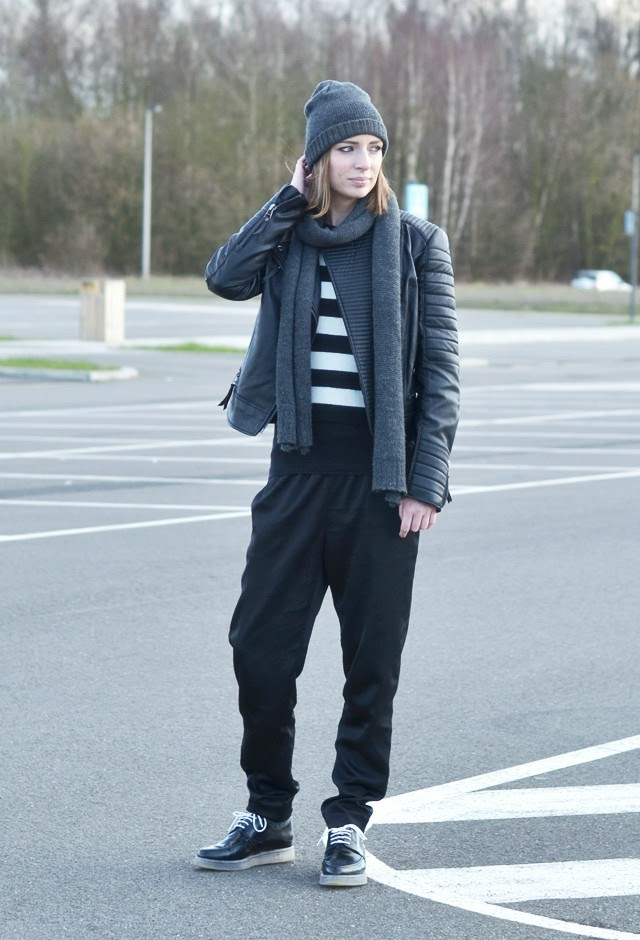 cheap monday hat mango harley biker jacket we striped crop sweater h&m trend silk shiny jogging pants zara trf transparent sole derby outfit post fashion blogger turn it inside out belgium