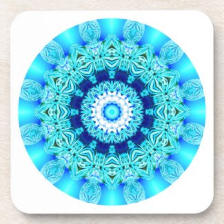 Blue Ice Lace Mandala, Abstract Aqua Beverage Coaster