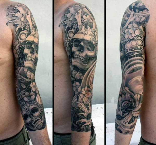 40 Japanese Skull Tattoo Designs For Men Cool Cranium Ink Ideas