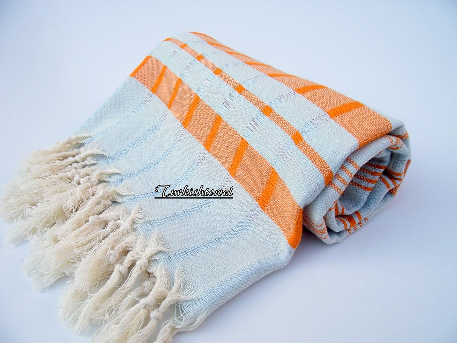 High Quality Hand Woven Turkish Cotton Bath,Beach,Pool,Spa,Yoga,Travel Towel or Sarong-Orange Stripes on Mint Checked