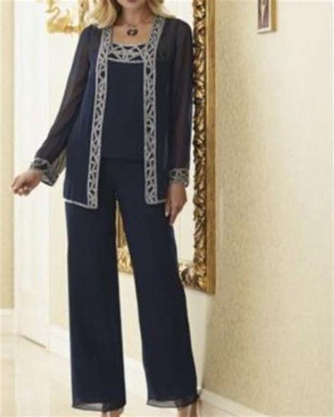 dark blue beaded crystal mother   bride pants suit
