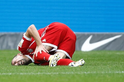 Bayern confirm Ribery could be out for weeks due to LCL tear in left knee