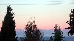 Pink morning mountains