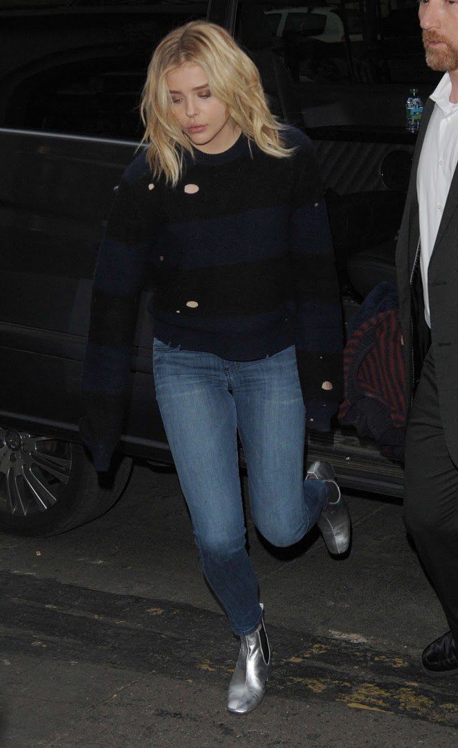 Chloe Moretz in jeans out in Paris