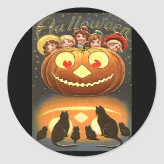 Vintage Halloween Children and Cats sticker